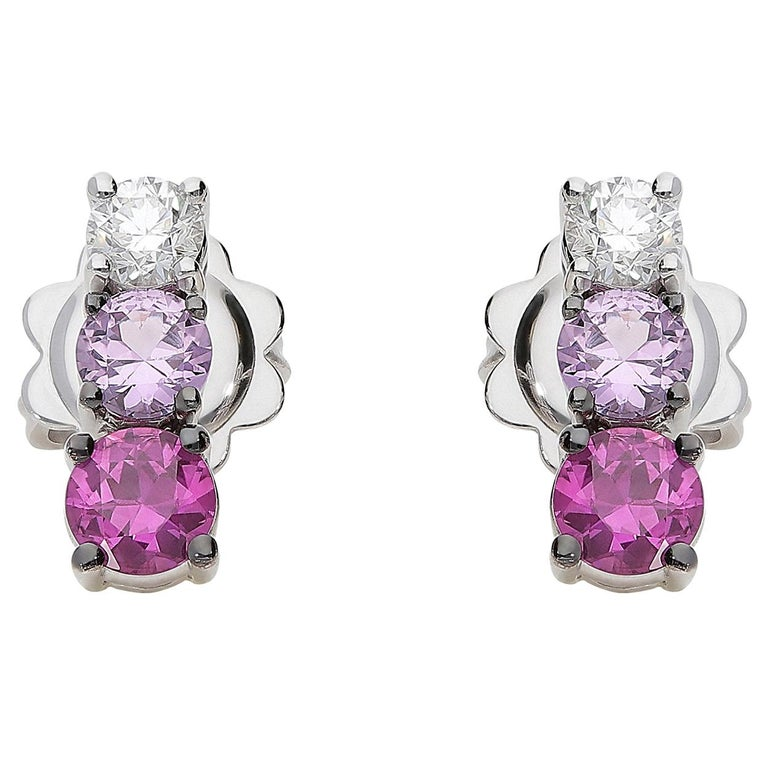0.21 White GVS Diamonds 0.51 Rubies 0.38 Pink Sapphires 18 Karat Gold Earrings For Sale