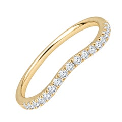 0.21ctw Round Diamond Curved Stacking Band 18k Yellow Gold