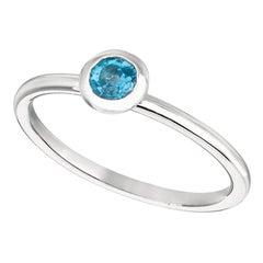 0.22 Carat Blue Topaz Bezel Set Ring 14K White Gold