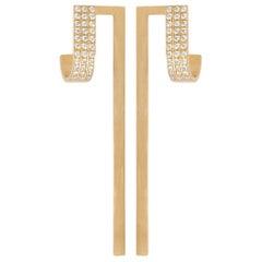 0.22 Carat Diamond 18-Karat Yellow Gold Long extension Earring