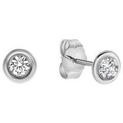 0.22 Carat Diamond Bezel Set Stud Earrings in 14K White Gold, Shlomit Rogel