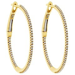 0.22 Carat Round Diamond Hoop Earrings in Yellow Gold