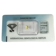 0.23 Carat IGI Certificate Natural Fancy Intense Yellow Cushion Cut Diamond
