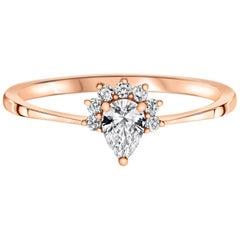0.23 Carat Pear & Round Cut Diamonds Crown Ring 14k Rose Gold - Shlomit Rogel