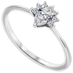 0.23 Carat Pear & Round Cut Diamonds Crown Ring 14k White Gold - Shlomit Rogel