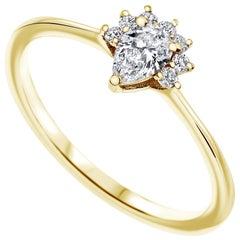 0.23 Carat Pear & Round Cut Diamonds Crown Ring 14k Yellow Gold - Shlomit Rogel