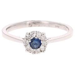 0.23 Carat Sapphire Diamond 14 Karat White Gold Ring