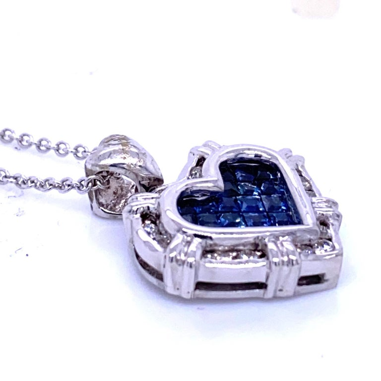 0.24 Carat Diamond/0.75 Carat Blue Sapphire 18K Gold Hearts Pendant Necklace In New Condition For Sale In Los Angeles, CA