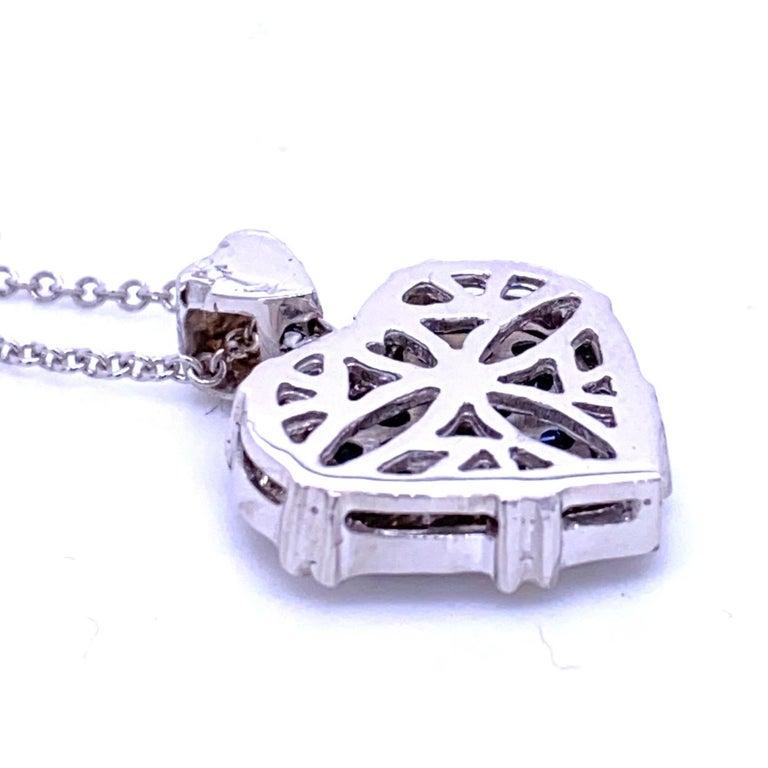 Women's 0.24 Carat Diamond/0.75 Carat Blue Sapphire 18K Gold Hearts Pendant Necklace For Sale