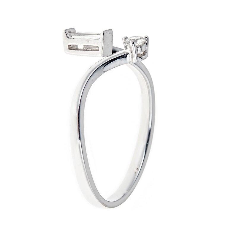 Modern 0.24 Carat Diamond 14 Karat White Gold Ring For Sale