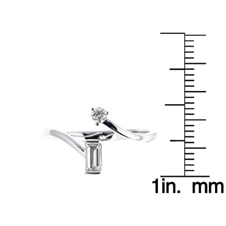 Baguette Cut 0.24 Carat Diamond 14 Karat White Gold Ring For Sale