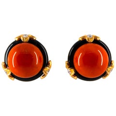 0.24 Carat Diamond Mediterranean Red Coral Onyx Yellow Gold Clip-On Earrings