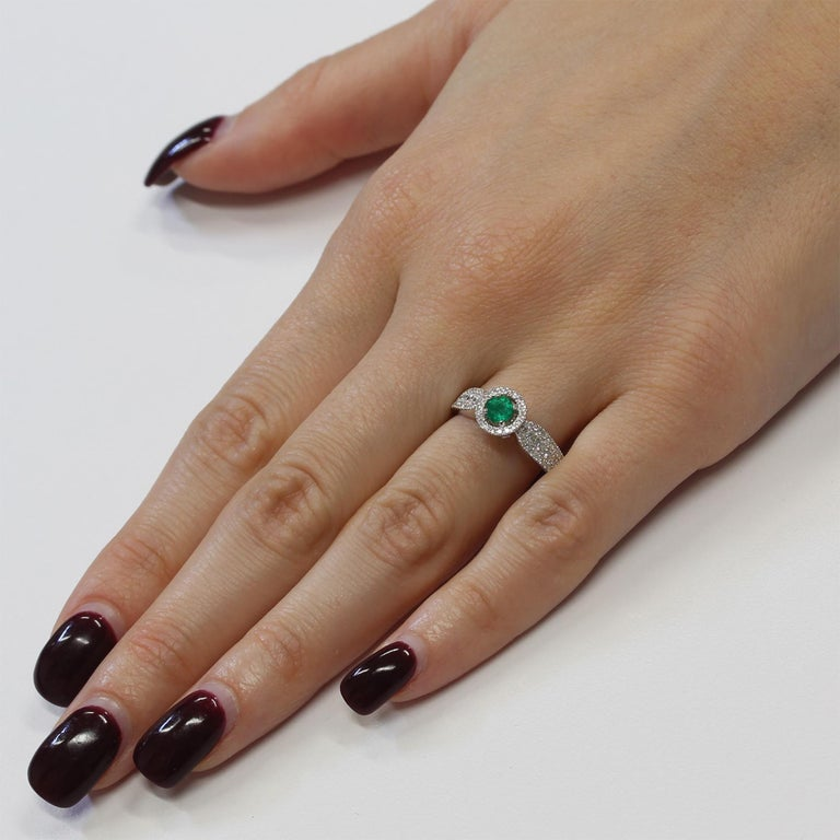 0.24 Carat Emerald and Diamond White Gold Cocktail Ring In New Condition For Sale In New York, NY