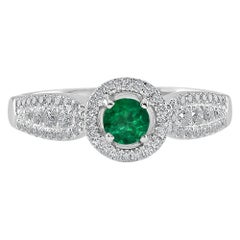0.24 Carat Emerald and Diamond White Gold Cocktail Ring