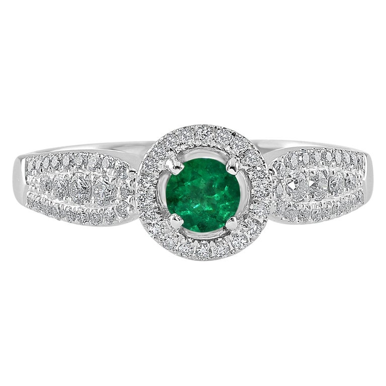 0.24 Carat Emerald and Diamond White Gold Cocktail Ring For Sale