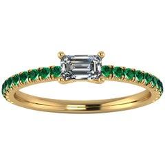 0.24 Carat Emerald Diamond with 0.22 Carat Emeralds 18 Karat Yellow Gold Ring