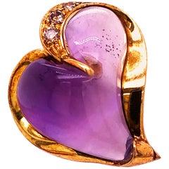 Berca 0.24Kt Champagne Diamond 12 Kt Natural Hand Inlaid Amethyst Heart Pendant