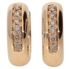 0.25 Brown Diamonds 18 Karat Pink Rose Gold Small Hoop Earrings