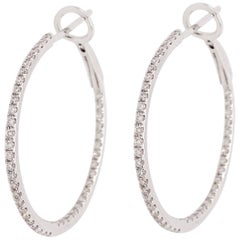 0.25 Carat '1/4 Carat' Diamond Inside Out Hoops, Diamond Hoops