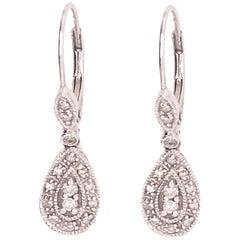 0.25 Carat '1/4 Carat' Diamond Pear Shape Drop Earring Dangle, White Gold