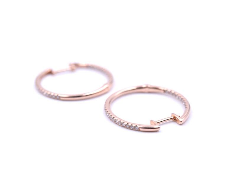Round Cut 0.25 Carat Diamond 14 Karat Rose Gold Inside/Outside Hoop Earrings For Sale