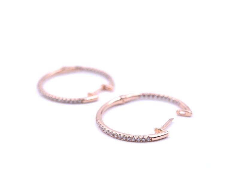 0.25 Carat Diamond 14 Karat Rose Gold Inside/Outside Hoop Earrings In Excellent Condition For Sale In Scottsdale, AZ
