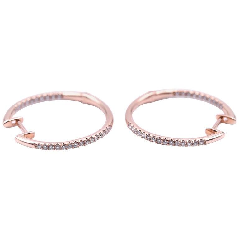 0.25 Carat Diamond 14 Karat Rose Gold Inside/Outside Hoop Earrings For Sale