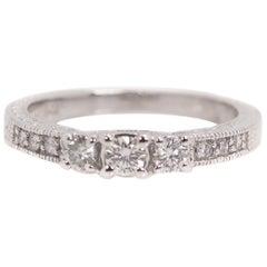 0.25 Carat Diamond and 14 Karat White Gold Vintage Inspired Engagement Ring