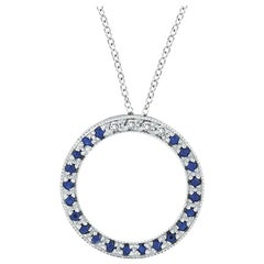0.25 Carat Diamond & Sapphire Circle Pendant Necklace 14K White Gold