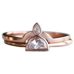 0.25 Carat Half Moon Diamond Engagement Ring Set