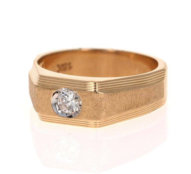 Looking for a Father's Day Gift or an Engagement Band?!  Check out our Men's Collection!  This classic Mens' Ring has 1 Round Cut Diamond that weighs 0.25 Carats (Clarity: VS, Color: F).  The Total Carat Weight of this ring is 0.25 Carats.   It is