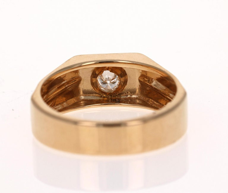 0.25 Carat Men's Round Cut Diamond Ring 18 Karat Yellow Gold In New Condition For Sale In San Dimas, CA
