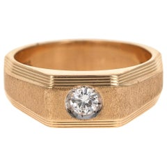 0.25 Carat Men's Round Cut Diamond Ring 18 Karat Yellow Gold