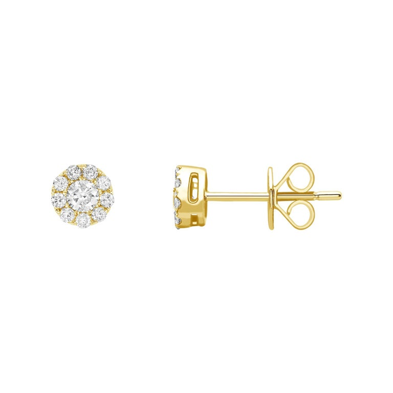 0 25 Carat Mini Cer Round White Diamond 18 Karat Yellow Gold Stud Earrings For