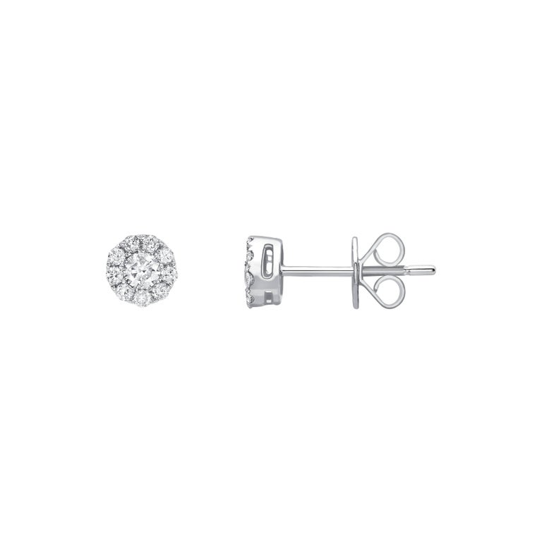 0.25 Carat Mini Cluster Round White Diamond 18KT White Gold Stud Earrings