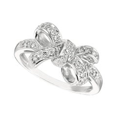 0.25 Carat Natural Diamond Bow Ring G SI 14 Karat White Gold