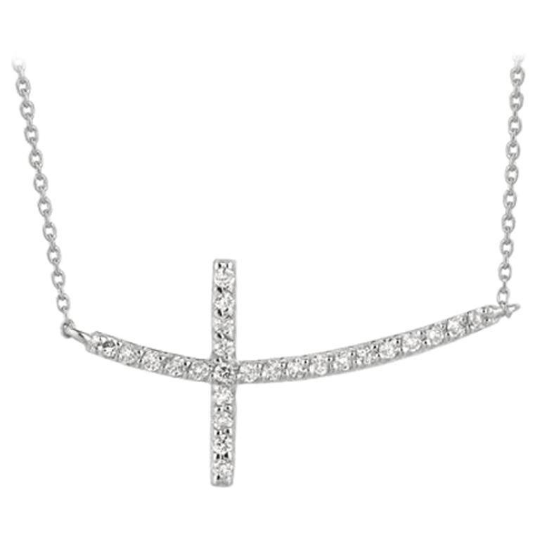 0.25 Carat Natural Diamond Cross Pendant Necklace 14 Karat White Gold G SI Chain