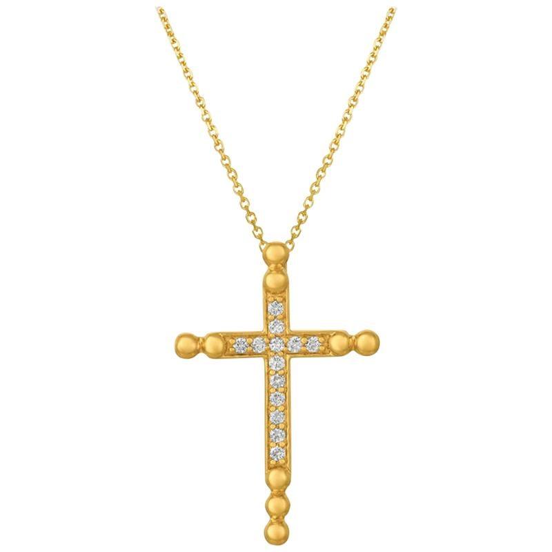 0.25 Carat Natural Diamond Cross Pendant Necklace 14 Karat Yellow Gold G SI