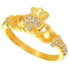 0.25 Carat Natural Diamond Crown Heart Ring G SI 14 Karat Yellow Gold