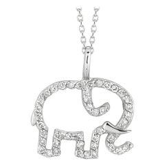 0.25 Carat Natural Diamond Elephant Necklace Pendant 14 Karat White Gold Chain