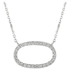 0.25 Carat Natural Diamond Oval Necklace 14 Karat White Gold G SI