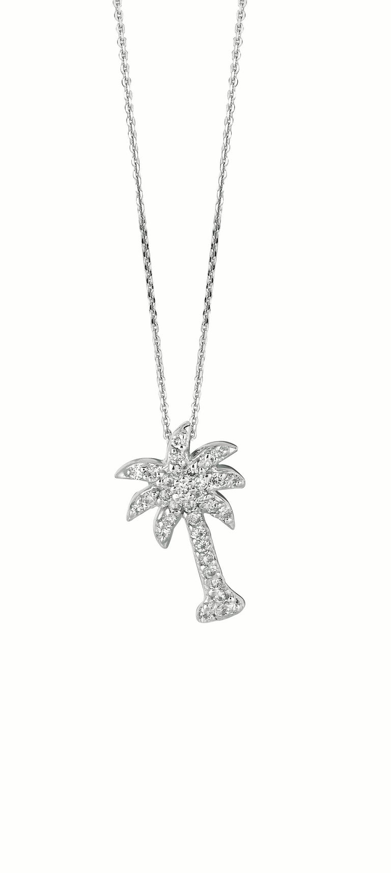 0.25 Carat Natural Diamond Palm Tree Necklace 14K White Gold      100% Natural Diamonds, Not Enhanced in any way Round Cut Diamond Necklace with 18'' or 16'' chain  to your choice     0.25CT     Color G-H      Clarity SI       14K White Gold   Pave