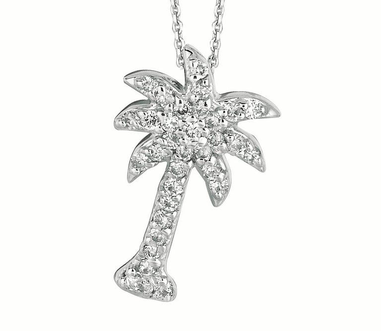 Contemporary 0.25 Carat Natural Diamond Palm Tree Necklace Pendant 14 Karat White Gold Chain For Sale