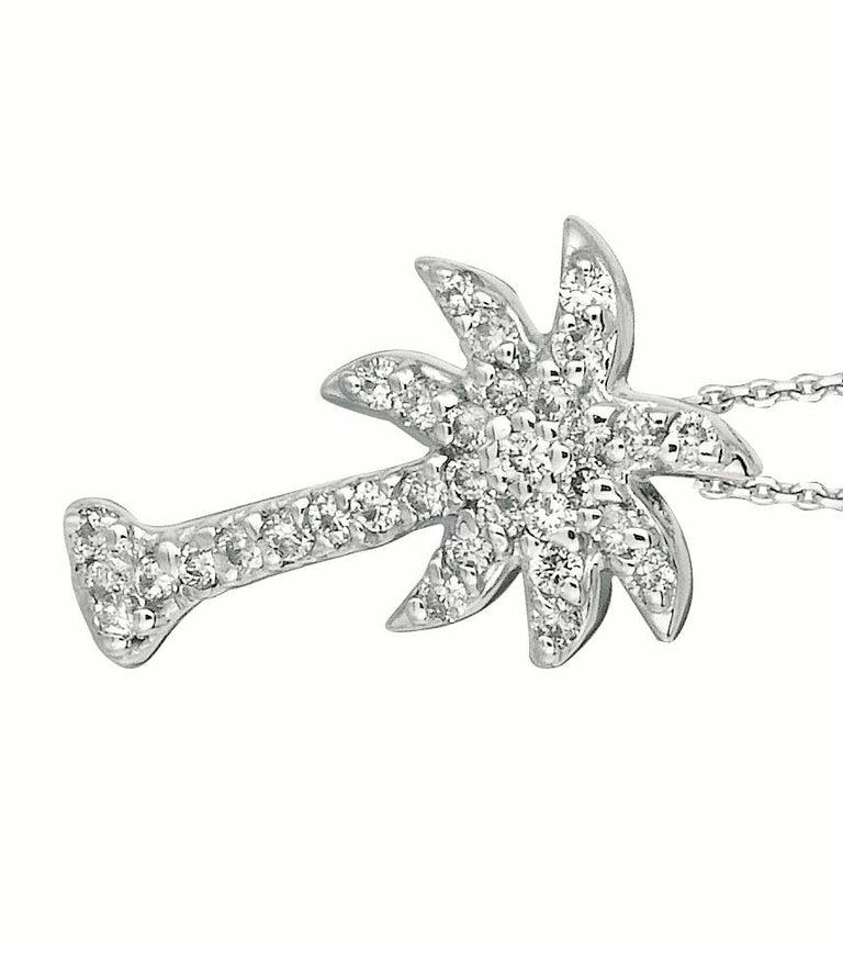 Round Cut 0.25 Carat Natural Diamond Palm Tree Necklace Pendant 14 Karat White Gold Chain For Sale