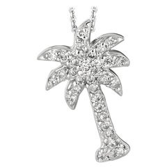 0.25 Carat Natural Diamond Palm Tree Necklace Pendant 14 Karat White Gold Chain
