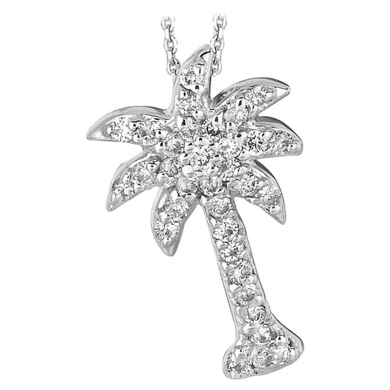 0.25 Carat Natural Diamond Palm Tree Necklace Pendant 14 Karat White Gold Chain For Sale