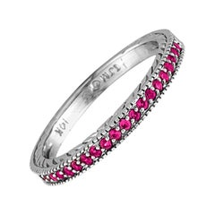 0.25 Carat Natural Pink Sapphire Stackable Guard Ring 14 Karat White Gold
