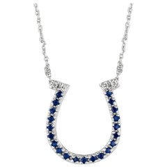 0.25 Carat Natural Sapphire and Diamond Horseshoe Necklace 14 Karat Gold G SI