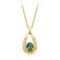 Oval Natural Color Changing Alexandrite Diamond Pendant