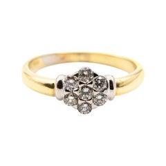 0.25 Carat Round Brilliant Cut Diamond 18 Carat Gold Vintage Cluster Ring